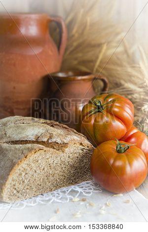 Homemade Bread And Wheat Ears