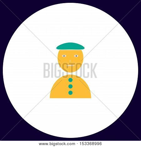 clown jester Simple vector button. Illustration symbol. Color flat icon