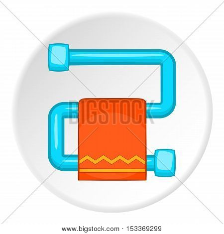 Heated towel rail with orange towel icon. Cartoon illustration of heated towel rail with towel vector icon for web
