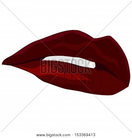 Red sexy lips. Vector illustration. The mouth is half open and visible teeth
