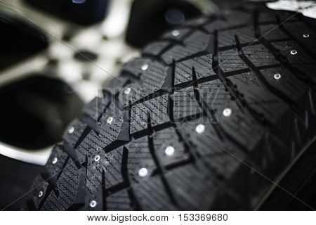 winter tire car with shallow depth of field