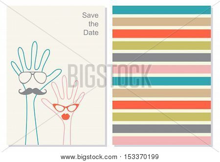 Funny greeting card, booklet. Creative invation card for weeding or any celebration. The head in the form of a green and red hands with glasses. Save the data phrase on the background. Vector.
