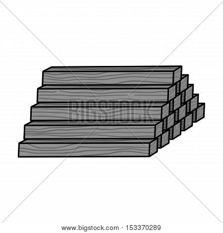 Stack of lumbers icon in monochrome style isolated on white background. Sawmill and timber symbol vector illustration.