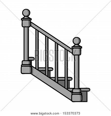 Stairs icon in monochrome style isolated on white background. Sawmill and timber symbol vector illustration.