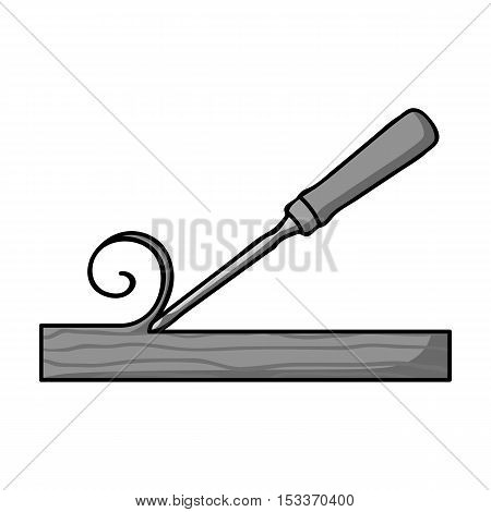 Chisel icon in monochrome style isolated on white background. Sawmill and timber symbol vector illustration.