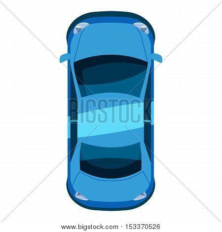 Blue car top view icon. Isometric 3d illustration of vector icon for web