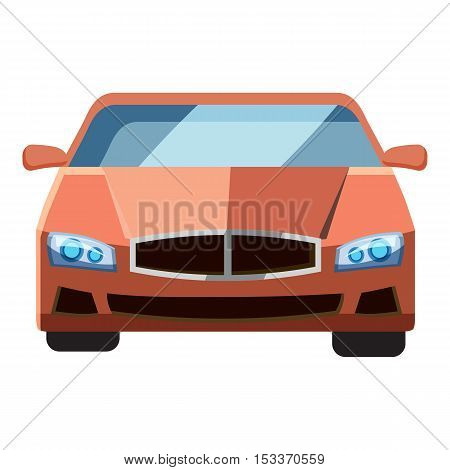 Red car, front view icon. Isometric 3d illustration of red car vector icon for web
