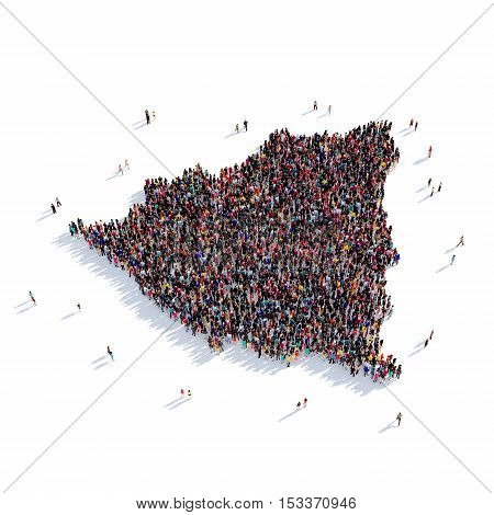 Large and creative group of people gathered together in the form of a map Nicaragua, a map of the world. 3D illustration, isolated against a white background. 3D-rendering. poster