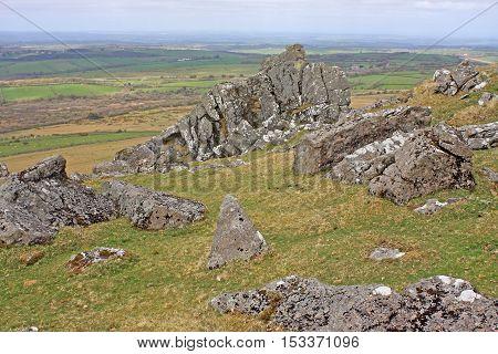 Granite rocks on Sourton Tor in Dartmoor