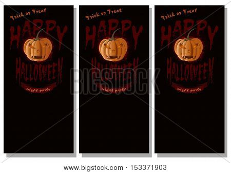 Halloween design. Black poster set for Halloween. Jack-o'-lantern against a dark background. Happy Halloween. Trick or treat