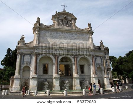 ROME, ITALY - JUNE 13, 2015: The Fontana dell'Acqua Paola also known as Il Fontanone (