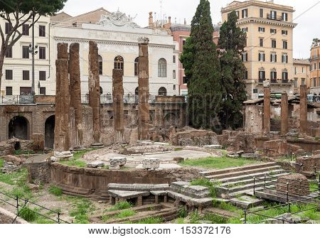 ROME ITALY - JUNE 15 2015: Archaeological area of Largo di Torre Argentina in Rome Italy