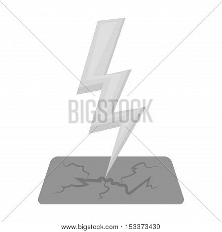 Lightning bolt icon in monochrome style isolated on white background. Weather symbol vector illustration.