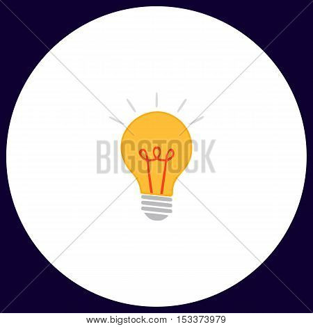Light lamp Simple vector button. Illustration symbol. Color flat icon