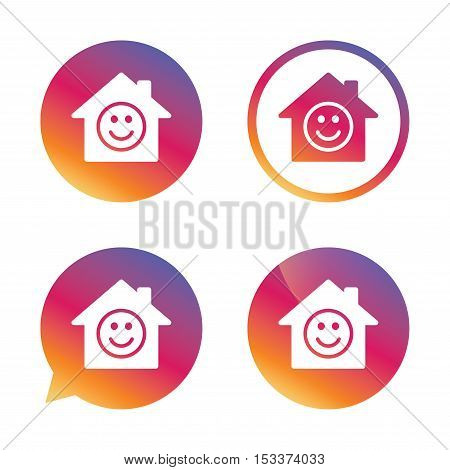 Comedy club. Smile icon. Happy face chat symbol. Gradient buttons with flat icon. Speech bubble sign. Vector