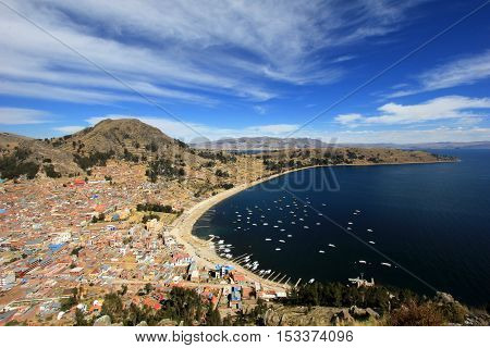 Bay in Copacabana Bolivia, lake Titicaca, view from the mountain