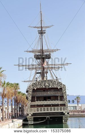 ALICANTE SPAIN - AUGUST 31: replica of spanish warship santisima trinidad anchored in alicante harbor actually used as restaurant. Picture taken on August 31 2016 in Alicante spain.