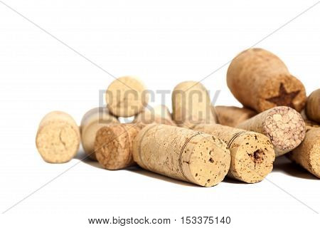 Wine corks isolated on a  white background