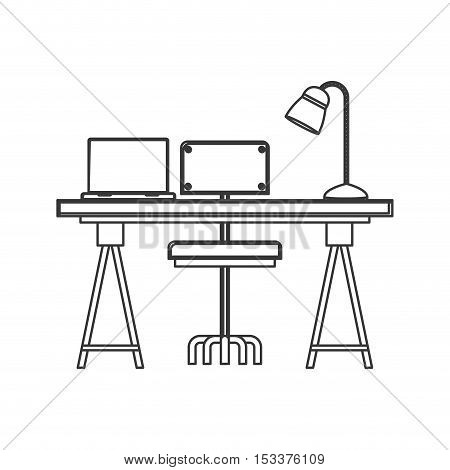 wooden desk with chair with lamp and laptop icon over white background. workplace design. vector illustration