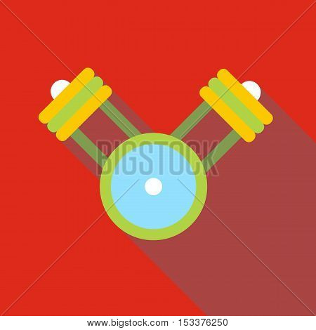 Engine pistons on a crankshaft icon. Flat illustration of engine pistons on a crankshaft vector icon for web isolated on red background