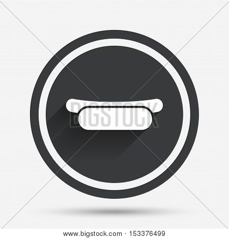 Hotdog sandwich icon. Sausage symbol. Fast food sign. Circle flat button with shadow and border. Vector