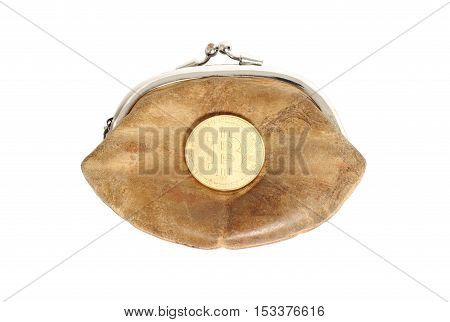 Purse with bitcoin coin isolated on white