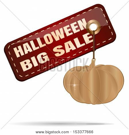 Halloween SALE. Gold pumpkin and tag price with inscription - Halloween big sale. Illustration for Halloween