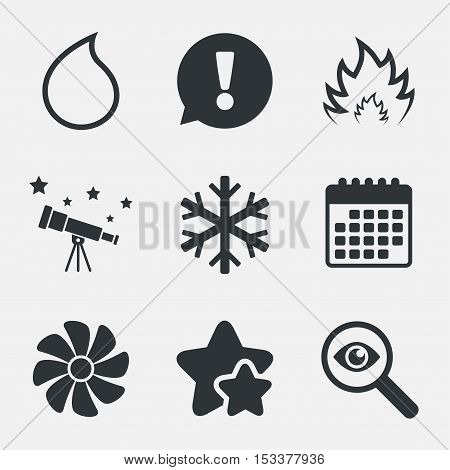 HVAC icons. Heating, ventilating and air conditioning symbols. Water supply. Climate control technology signs. Attention, investigate and stars icons. Telescope and calendar signs. Vector