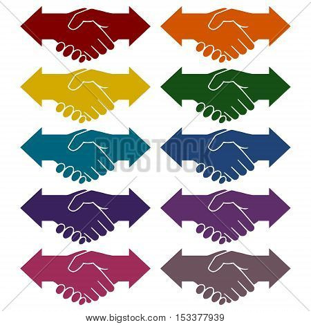 Partnership (Hand shake arrows) icons set on white background