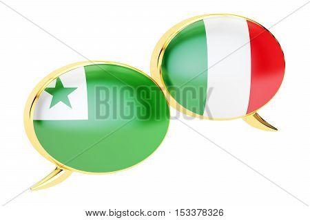 Speech bubbles Italian-Esperanto conversation concept. 3D rendering