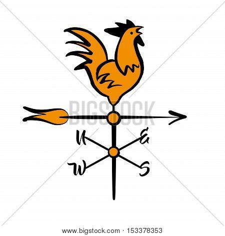 Free Hand Drawn Vector Illustration Rooster Weather Vane. Image