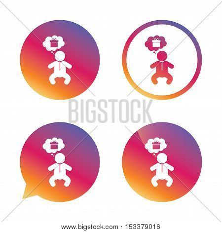 Baby infant think about gift box sign icon. Toddler boy in pajamas or crawlers body symbol. Gradient buttons with flat icon. Speech bubble sign. Vector