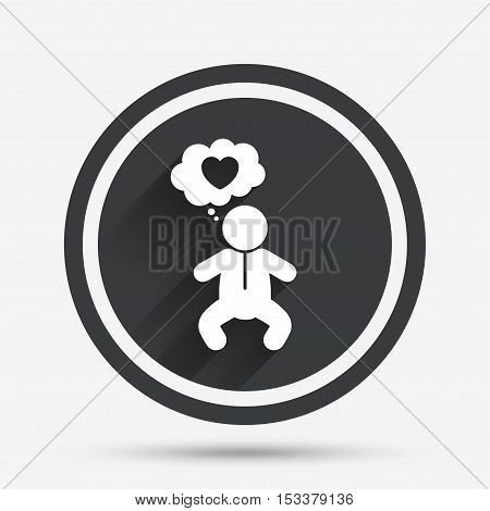 Baby infant think about love sign icon. Toddler boy in pajamas or crawlers body symbol. Circle flat button with shadow and border. Vector