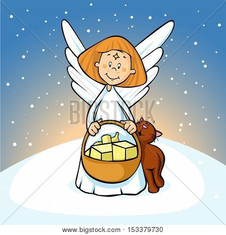 angel holding a basket full of gifts and cat fawns on snowy background - cute illustration