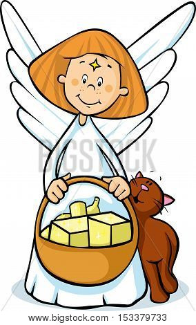 angel holding a basket full of gifts and cat fawns - cute illustration isolated
