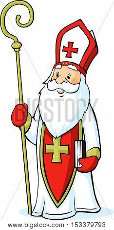 Saint Nicholas isolated on white background - vector illustration