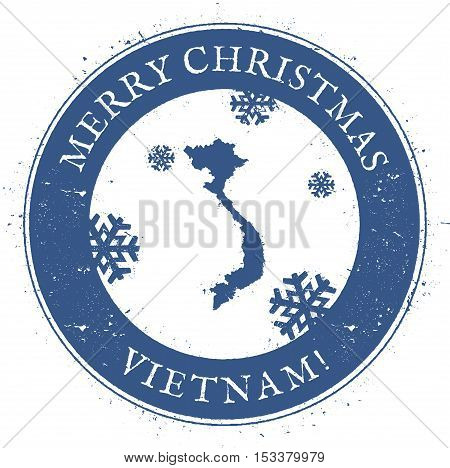 Vietnam Map. Vintage Merry Christmas Vietnam Stamp. Stylised Rubber Stamp With County Map And Merry