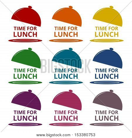 Time For Lunch icons set on white background