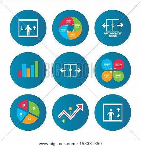 Business pie chart. Growth curve. Presentation buttons. Automatic door icons. Elevator symbols. Auto open. Person symbol with up and down arrows. Data analysis. Vector