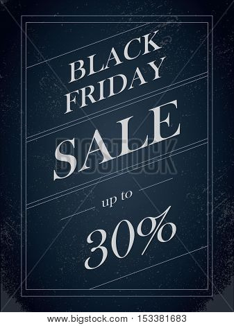 Black Friday Sale vector banner with percentual discount offer in vintage paper decorative artistic style. Eps10 vector illustration.