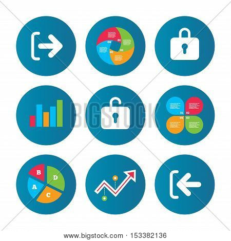 Business pie chart. Growth curve. Presentation buttons. Login and Logout icons. Sign in or Sign out symbols. Lock icon. Data analysis. Vector
