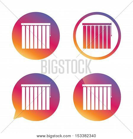 Louvers vertical sign icon. Window blinds or jalousie symbol. Gradient buttons with flat icon. Speech bubble sign. Vector