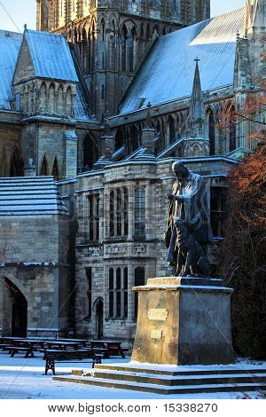 Statue Of Lord Tennyson At Cathdral In England