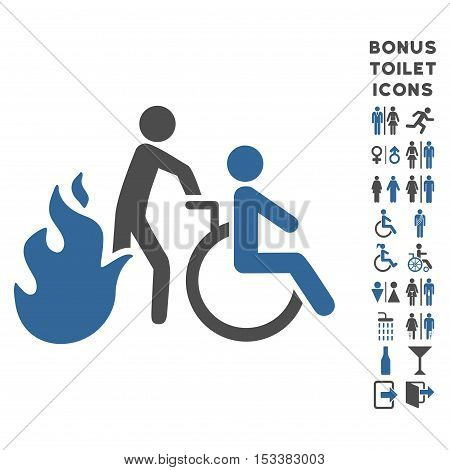 Fire Patient Evacuation icon and bonus male and female toilet symbols. Vector illustration style is flat iconic bicolor symbols, cobalt and gray colors, white background.