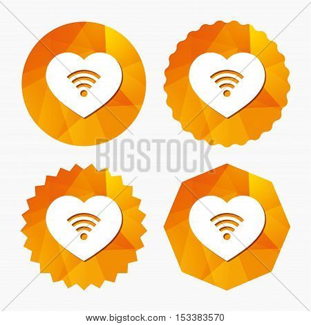 Love Wifi sign. Wi-fi symbol. Wireless Network icon. Wifi zone. Triangular low poly buttons with flat icon. Vector