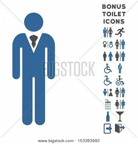 Gentleman icon and bonus gentleman and female restroom symbols. Vector illustration style is flat iconic bicolor symbols, cobalt and gray colors, white background.