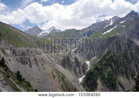 Landscape between Sonamarg and Kargil in Ladakh, in India