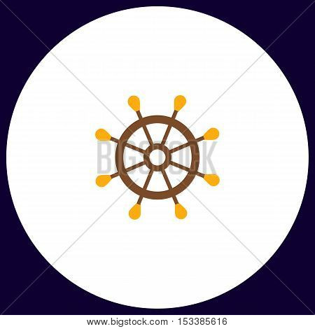 rudder Simple vector button. Illustration symbol. Color flat icon