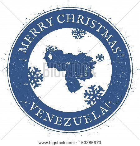 Venezuela, Bolivarian Republic Of Map. Vintage Merry Christmas Venezuela, Bolivarian Republic Of Sta