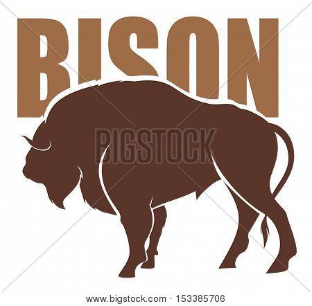 vector emblem of big american Bizon silhouette